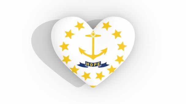 Heart in colors flag of US state Rhode Island loop