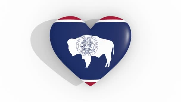 Heart in colors flag of US state Wyoming, loop