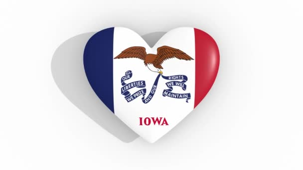 Heart in colors flag of US state Iowa, loop