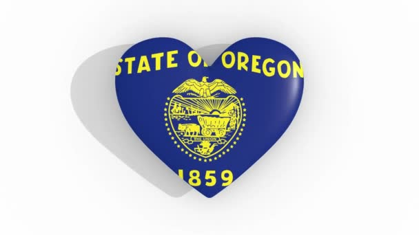 Heart in colors flag of US state Oregon, loop