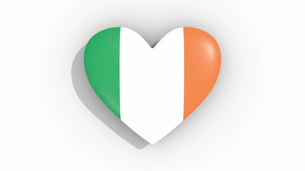 Heart in colors flag of Ireland pulses, loop