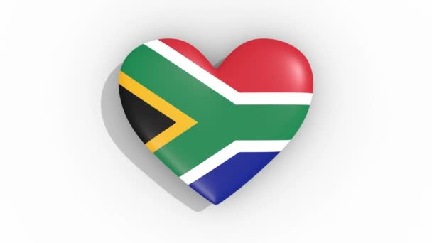 Heart in colors flag of South Africa pulses, loop
