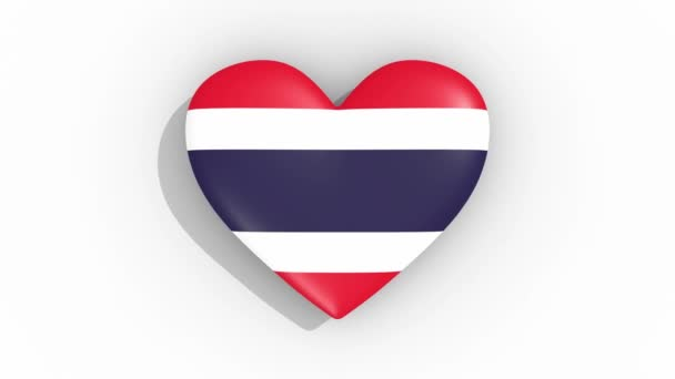 Heart in colors of flag of Thailand pulses, loop