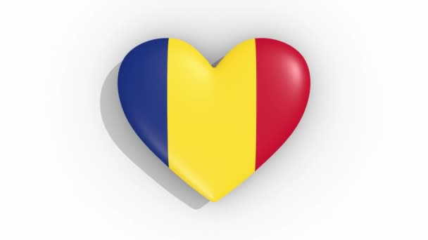 Heart in colors of flag of Romania pulses, loop