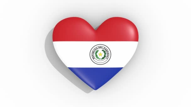 Heart in colors of flag of Paraguay pulses, loop