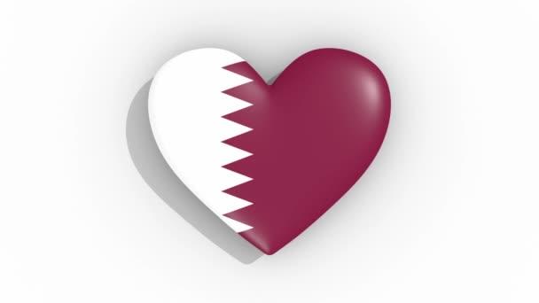 Heart in colors of flag of Qatar pulses, loop