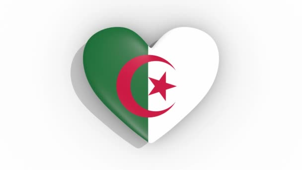 Heart in colors of flag of Algeria pulses, loop