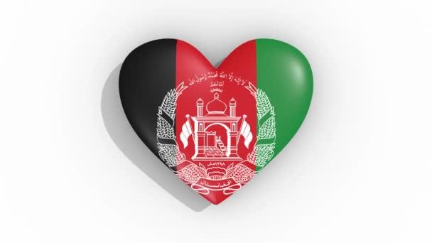 Heart in colors flag of Afghanistan pulses, loop