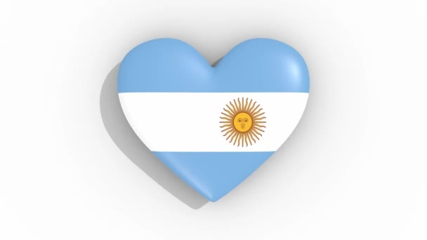 Heart in colors of flag of Argentina pulses, loop