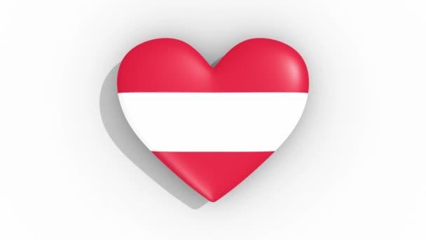 Heart in colors of flag of Austria pulses, loop