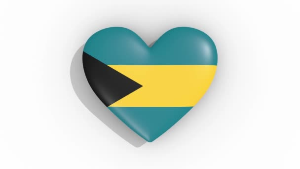 Heart in colors of flag of Bahamas pulses, loop