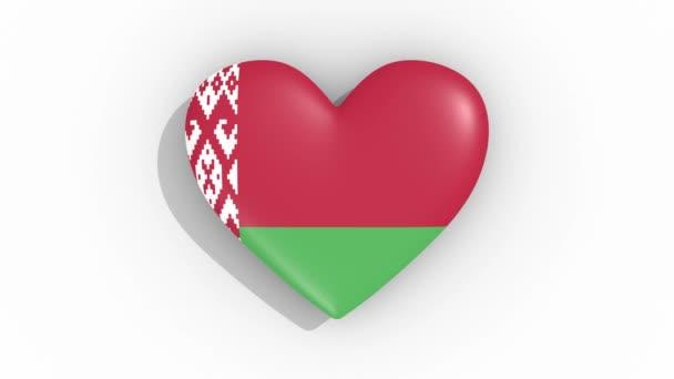 Heart in colors of flag of Belarus pulses, loop