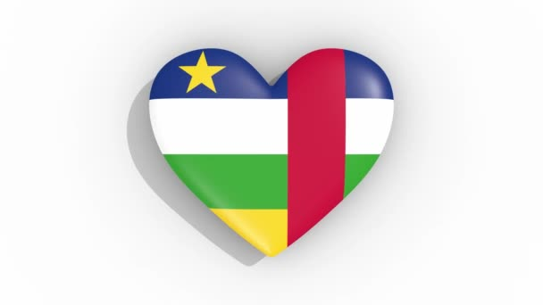 Heart in colors of flag of Central African Republic pulses, loop.