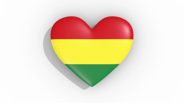 Heart in colors of flag of Bolivia pulses, loop