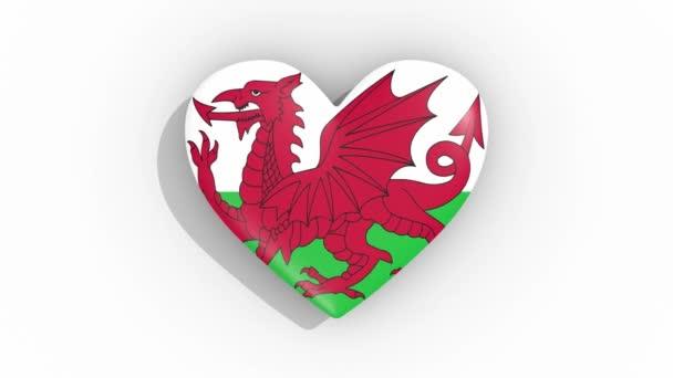 Srdce v barvách vlajky Walesu impulsů, smyčka