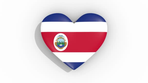 Heart in colors of flag of Costa Rica pulses, loop