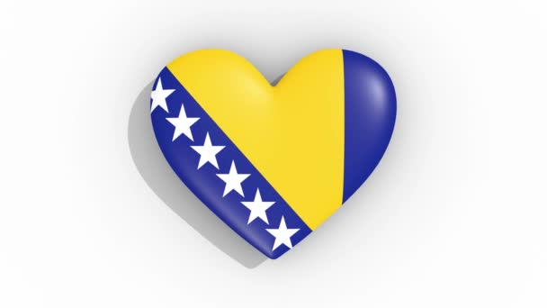 Heart in colors flag Bosnia and Herzegovina, loop