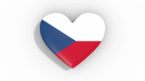 Heart in colors of flag of Czech Republic pulses, loop.