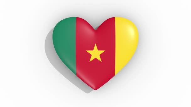 Heart in colors of flag of Cameroon pulses, loop