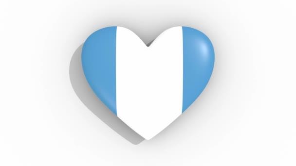 Heart in colors flag of Guatemala pulses, loop