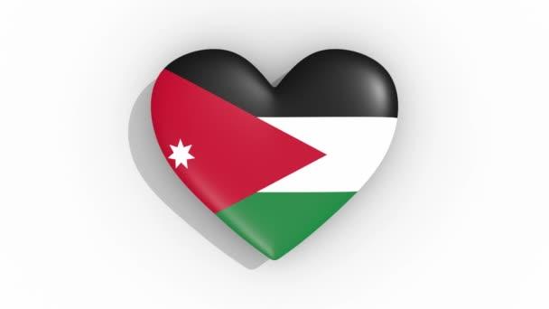 Heart in colors flag of Jordan pulses, loop