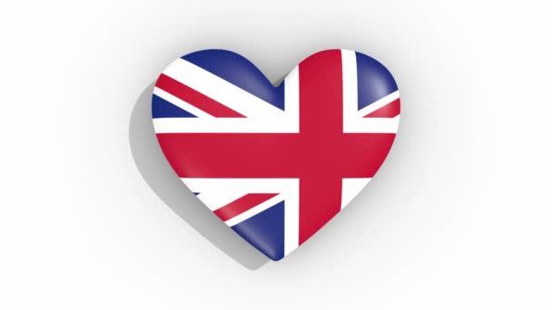 Srdce v barvách vlajky Velké Británie impulsů, smyčka