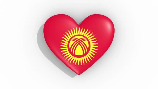 Heart in colors flag of Kyrgyzstan pulses, loop