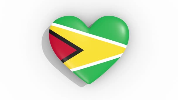 Heart in colors flag of Cooperative Republic of Guyana pulses, loop.