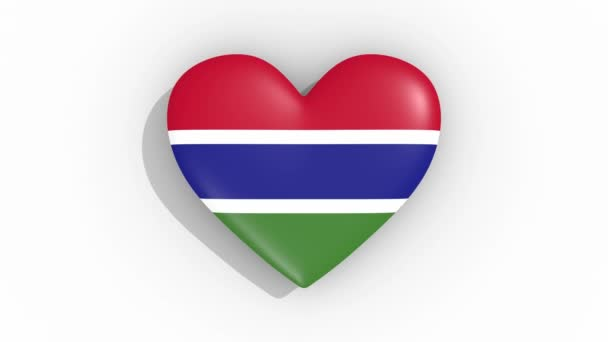 Heart in colors flag of Gambia pulses, loop