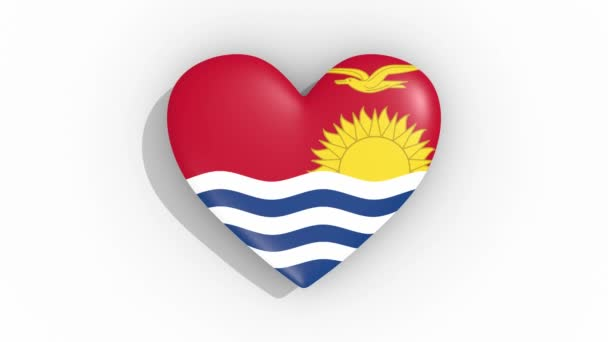 Heart in colors flag of Kiribati pulses, loop