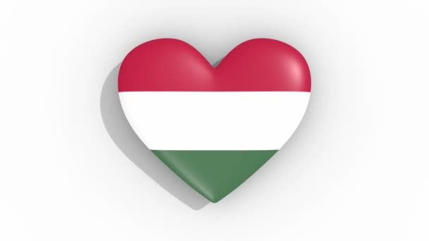 Heart in colors flag of Hungary pulses, loop