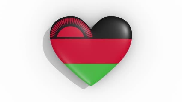 Heart in colors flag of Malawi pulses, loop