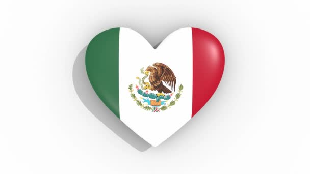 Heart in colors flag of Mexico pulses, loop