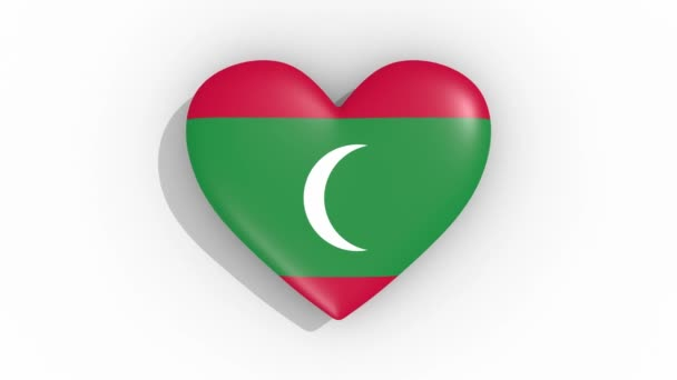 Heart in colors flag of Maldives pulses, loop