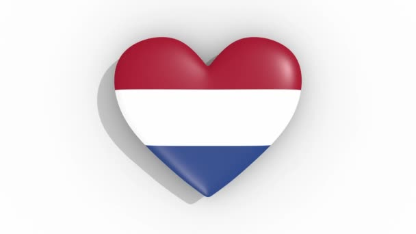Heart in colors flag of Netherlands pulses, loop