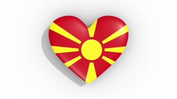 Heart in colors flag of Macedonia pulses, loop