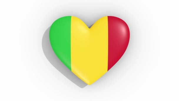 Heart in colors flag of Mali pulses, loop