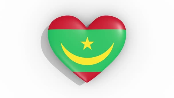 Heart in colors flag of Mauritania pulses, loop