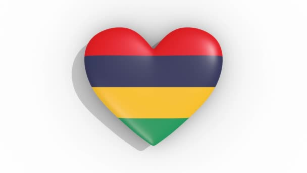Heart in colors flag of Mauritius pulses, loop