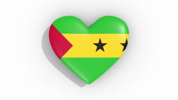 Heart in colors flag of Sao Tome and Principe pulses, loop.