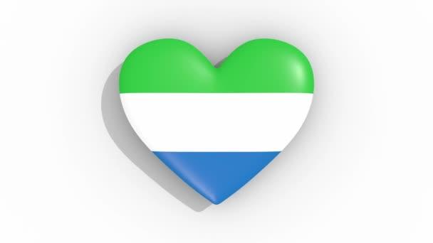 Heart in colors flag of Sierra Leone pulses, loop