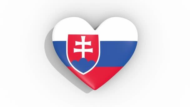 Heart in colors flag of Slovakia pulses, loop