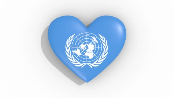 Heart with a symbol of the United Nations, loop