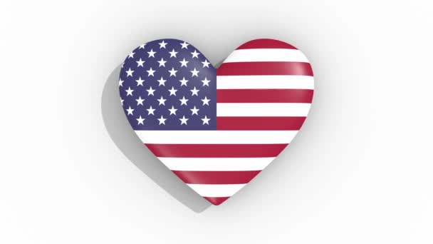 Heart in colors flag of USA pulses, loop