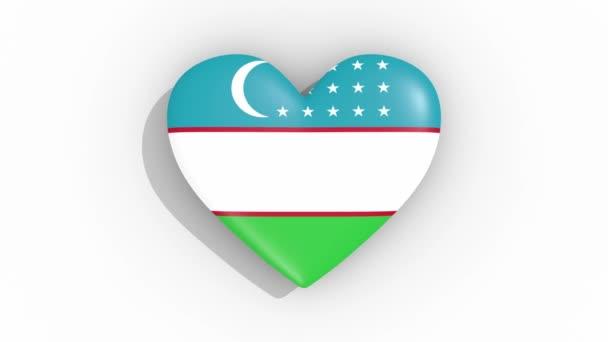Heart in colors flag of Uzbekistan pulses, loop