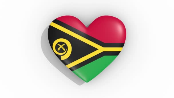 Heart in colors flag of Vanuatu pulses, loop