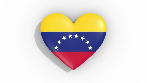 Heart in colors flag of Venezuela pulses, loop