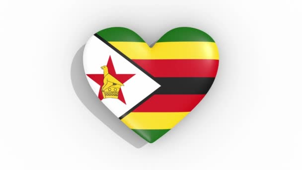 Heart in colors flag of Zimbabwe pulses, loop