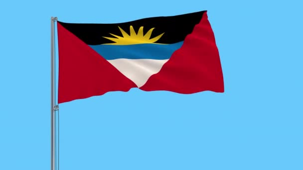Large cloth isolate flag of Antigua and Barbuda on a flagpole fluttering in the wind on a transparent background, 3d rendering, 4k prores footage, alpha transparency
