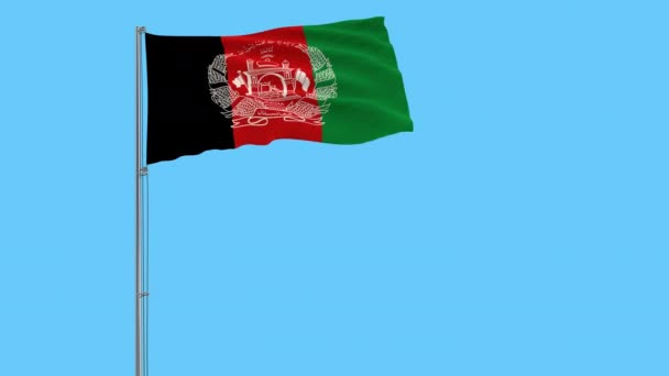 Isolate flag of Islamic Republic Afghanistan on a flagpole fluttering in the wind on a transparent background, 3d rendering, 4k prores footage, alpha transparency